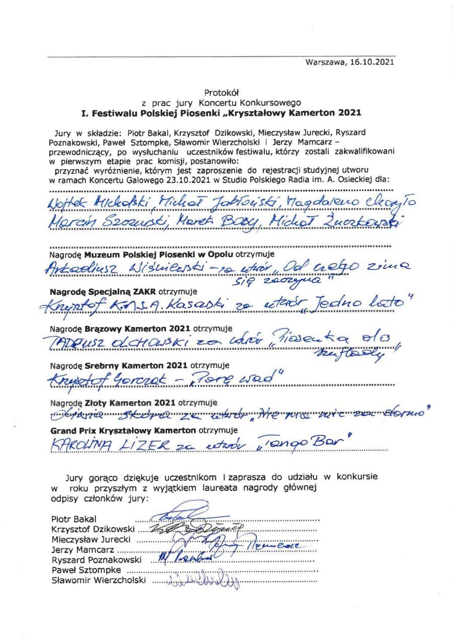 protokół Kryształowy Kamerton2021